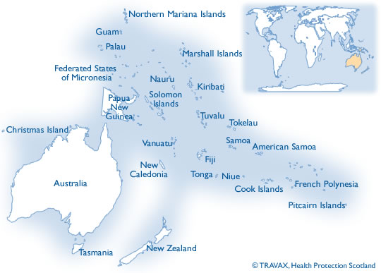 Map of Australsia and Pacific