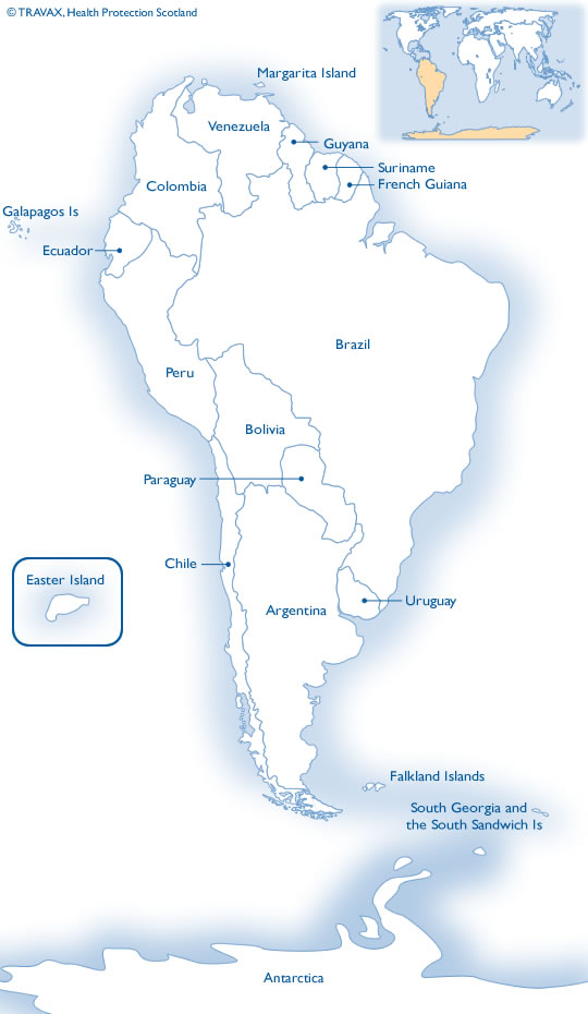Map of South America and Antarctica